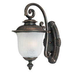 Maxim Lighting - Maxim Lighting Cambria Traditional Outdoor Wall Sconce X-HCCF5903 - Enjoy the vintage appeal and sleek elegance of this traditional wall sconce. The detailed curving styling and chocolate finish makes this fixture a delicious addition to your porch, garage, or main gate. The frost crackle shade provides a refreshingly mysterious alternative to more mundane fixtures. Say something different.