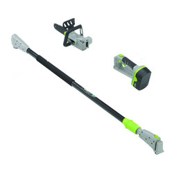 Earthwise - Earthwise 8-inch 2-in-1 Convertible Pole 18V Chainsaw - This Earthwise 8-inch Convertible 2 in 1 Pole Chain Saw features an 18 volt, 1.7 Ah Ni-Cad Battery. This chainsaw even has Bar and Chain Oiling and Thru Handle Cord Retention.
