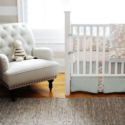 Picket Fence Baby Bedding - You really can't go wrong with this set. It is gender neutral, serene and usable in any decor (depending on what style of furniture you pair it with).