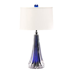 "Inviting Home - Venetian Glass Table Lamp (cobalt blue) - Hand-blown clear and cobalt blue Venetian glass lamp; 14""W x 26-1/4""H; made in Italy; Hand-blown clear and cobalt blue Venetian glass lamp. Table lamp has one light and round hardback fabric shade; max.100 watts bulb; UL approved; made in Italy. shade size: 13"" top 14"" bottom 9"" slant height"