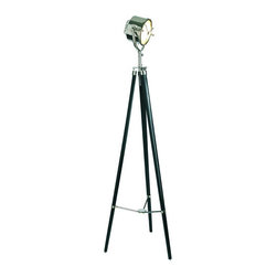 """Searchlight 1940, Nickel & Black - The searchlight 1940 (nickel  black) measures 26.5""""L x 11.75""""W x 78.75""""H. This item features a brass body w/ bronze finish, inside reflector center screen, molded industrial glass, aluminum grip, heavy hand polished aluminum cast cradle, height adjustment, brass mounting plate, floor dimmer, UL/CE approved wiring 60-watt, tri-arm locking mechanism, and antique brass compass. Right from the bridge of a 1940's navy destroyer...heavy cast bronze and aluminum, it must be nautical. Is part of its appeal that its just engineered, not designed? Form follows function...balanced on a surveyor's tripod. Looking like a million dollars, it smells of salt and sea while managing to convey cool and modern. It's salvage, vintage salvage. And it translates into sophisticated home decor."""