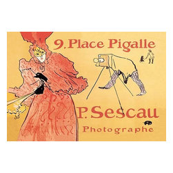 "Buyenlarge.com, Inc. - P. Sescau: Photographe - Fine Art Giclee Print 16"" x 24"" - Henri de Toulouse-Lautrec (1864 - 1901) was a French painter, printmaker, draftsman, and illustrator. The period he created his art was known as the Belle poque and his focus was on the decadence in Parisian society. Sescau was a close friend of Toulouse-Lautrec and an early photographer who popularized the cine-roman - an early form of film in which still images are accompanied by voice and music. Sescau had a reputation for attempting to seduce his models, hence Toulouse-Lautrec's depiction of the woman in the red dress in mid-flight in addition to the priapic configuration of the cloth hiding the photographer."