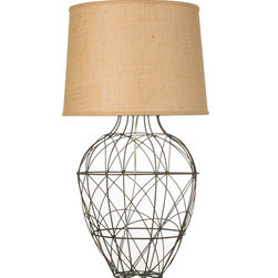 Loving Lighting - Russet Wire Table Lamp with Burlap Shade - Features: