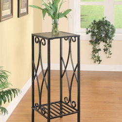 Coaster - Accent Metal Scroll Plant Stand - Traditional and intricate metal design. Slate inlaid metal scroll. Open bottom shelf. Gun metal color. 12 in. W x 12 in. D x 24 in. H. WarrantyThis square plant stand will look stunning in your seasonal porch, living room or entryway.