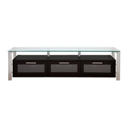 Plateau Decor 71 Inch TV Stand in Black/Clear and Silver - The long and lean Plateau Decor 71 Inch TV Stand in Black/Clear and Silver will showcase even the largest flat panel TV in modern style and convenience. Sleek black wood, clear glass, and silver metal combine for a fascinating industrial look worthy of your extensive, high tech audio/visual set up. The large base cabinet is made of black wood veneers and offers three compartments for your electronic equipment, game controllers, or DVDs. Each front door opens on precision hinges and features a frosted glass front panel that subtly disguises the contents. The shelf above is ideal for your frequently used components.The expansive top shelf is made of 0.5 inch thick clear safety glass with smooth, polished edges. The frame is made of silver welded heavy gauge steel tubes for strength, stability, and industrial style. The back panel is ventilated and features cord management openings for your convenience. The wood cabinet arrives to you already built, so the rest of the assembly process is quick and painless.About Plateau CorporationPlateau Corporation utilizes the finest materials to provide you with state of the art audio and video home theater furniture systems. Entertainment centers created by Plateau Corporation are a fusion of innovative engineering and contemporary design. Their product list includes entertainment centers, media storage, TV armoires, and TV stands that are all are easy to assemble, incredibly durable, and specially made to highlight your audio/video system. Their unique entertainment centers can grow as your system grows.