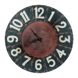 Cooper Classics - Cooper Classics Balencia Clock, Distressed Black - Enrich a room's decor with the lovely Balencia Clock. This beautiful wall clock features a distressed black finish that will compliment any decor.