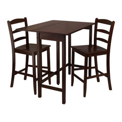 Winsome - Winsome Lynnwood 3 Piece Dining Set in Antique Walnut Finish - Winsome - Dinette Sets - 94334 -