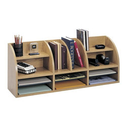 Safco - 38 in. Front Desk Top Organizer in Medium Oak - Radius front. Top shelves with four horizontal and two vertical compartments. Three adjustable bottom hardboard shelves. Made from 0.63 in. thick compressed wood. Compartment: 12 in. W x 9 in. D x 2.5 in. H. Overall: 38.5 in. W x 9.75 in. D x 15.25 in. H (33 lbs.). Assembly InstructionsNeed a little extra space to organize all your office supplies? This desk top organizer is the answer. Easily store supplies within reach on your desk, in the mail room, at a print station or any counter where space is a premium.