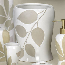 Creative Bath - Shadow Leaves Wastebasket - SHL54 - Shop for Wastebaskets from Hayneedle.com! The Shadow Leaves Wastebasket is a great addition to your relaxing and sophisticated bathroom. With elegantly contoured sides this wastebasket has a glossy white finish with debossed sand-blasted leaves. It is made of durable ceramic and is suitable for any decor. Coordinating accessories are available.About Creative BathFor over 30 years Creative Bath has developed innovative stylish bathroom decor items. They have grown exponentially and now you can find their products in major retail and online stores around the world. From shower curtains to soap dishes and everything in between Creative Bath brings you high quality items to enhance your lifestyle.