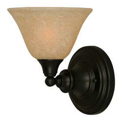 """Toltec - Toltec 40-MB-503 Wall Sconce Shown in Matte Black Finish - Toltec 40-MB-503 Wall Sconce Shown in Matte Black Finish with 7"""" Amber Marble Glass"""