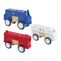 Guidecraft - Guidecraft Block Mates: Community Vehicles - Guidecraft - Wooden Play Sets - G7604 - Block Mates with wheels! Our Block Mates Community Vehicles collection features heavy-duty plastic parts with our patented nylon gasket ensuring a snug fit over existing unit blocks. The set features a fire engine bus ambulance and police car. Can be built in their natural form or mixed and matched with other Block Mates sets to create new imaginative vehicles. Blocks not included. Ages 3+.