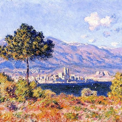 """Monet View of Antibes from the Plateau Notre-Dame Print - 16"""" x 24"""" Claude Oscar Monet View of Antibes from the Plateau Notre-Dame premium archival print reproduced to meet museum quality standards. Our museum quality archival prints are produced using high-precision print technology for a more accurate reproduction printed on high quality, heavyweight matte presentation paper with fade-resistant, archival inks. Our progressive business model allows us to offer works of art to you at the best wholesale pricing, significantly less than art gallery prices, affordable to all. This line of artwork is produced with extra white border space (if you choose to have it framed, for your framer to work with to frame properly or utilize a larger mat and/or frame).  We present a comprehensive collection of exceptional art reproductions byClaude Oscar Monet."""