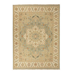Jaipur Rugs - Hand-Knotted Oriental Pattern Wool Blue/Ivory Area Rug ( 12x15 ) - Originally a construction style developed in the Caucasian region, the Sumak rug is an organic, hand-knotted, flat-woven rug that India has made its own over the centuries. Traditional designs predominate this award-winning collection, but the Jaimak Collection combines the benefits of contemporary color and durable wool for rug styling that adds sophistication to any environment. Through its unique herringbone effect and distinctive double-sided pattern, Jaimak creates a luxurious look and feel far exceeding its economical price point.