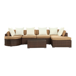 Modway Furniture - Modway Montana 5 Piece Sectional Set in Brown Tan White - 5 Piece Sectional Set in Brown Tan White belongs to Montana Collection by Modway Nestled among the expanse of the Rocky Mountains lies a land of big skies and even bigger dreams. With its assorted pieces to fit every seating position, the Montana set is symbolic of the treasured nature of its namesake. While Montana is termed ��_��_��_��_��_Big Sky Country��_��_��_��_��_ and the ��_��_��_��_��_Land of the Shining Mountains,��_��_��_��_��_ the set itself is the stuff dreams are made of. Montana is comprised of UV resistant rattan, a powder-coated aluminum frame and all-weather cushions. The set is perfect for cafes, restaurants, patios, pool areas, hotels, resorts and other outdoor spaces. Set Includes: One - Montana Coffee Table One - Montana Left-arm Sofa One - Montana Right Arm Sofa Two - Montana Middle Sofa Coffee Table (1), Left-Arm Sofa (1), Right-Arm Sofa (1), Middle Sofa (2)