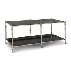 Kathy Kuo Home - Spring Lake Coastal Beach Twig Black Marble Silver Coffee Table - Artfully blending modern and rustic, this sleek, elegant coffee table exudes luxury. Black marble stretches across silver-finished, branch-shaped, nickel legs, creating two sleek, slim-lined surfaces that reflect your favorite displays and your excellent taste.