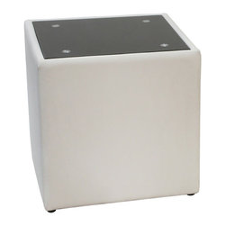 Diamond Sofa - Diamond Sofa Steel Bonded Leather End Table with Glass Top in White - The Steel collection by Diamond sofa brings a chic, yet simplistically classy addition to any room's decor with this White Leather End Table finished with a black Oiled Glass Top. Functional for any room in the home, it oozes style and delivers fashionable function to your home's decor.