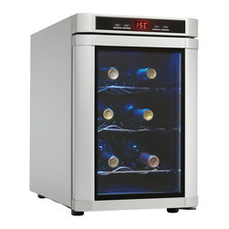 Danby - 6 Bottle Wine Cooler, Semiconductor Technology, Electronic LED Thermostat - The Danby DWC620PL-SC Maitre'D 6 Bottle Countertop Wine Cooler, in Platinum, is not only compact but e extremely energy efficient. Designed to take up a minimum of space in the kitchen or bar, this model can cool up to 6 bottles of wine at a time. The interior LED light can be turned on to showcase the contents.