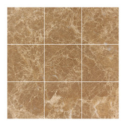 Stone & Co - Light Emperador Marble 4x4 Polished Wall and Floor Tile - Finish: Polished