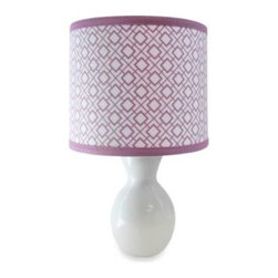 Petit Nest - Petit Nest Sophie Lamp and Shade - This pretty yet modern lamp has an elegant curvy white base and shade, an elegant key print on the shade, and a lavender border. It coordinates perfectly with the Petit Nest Sophie bedding and accessories.
