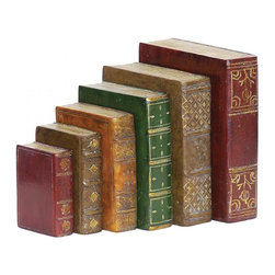 Sterling Industries - Set/6 Tooled Books - Set/6 Tooled Books