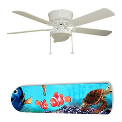 """Finding Nemo Stars 52"""" Ceiling Fan with Lamp - This is a brand new 52-inch 5-blade ceiling fan with a dome light kit and designer blades and will be shipped in original box. It is white with a flushmount design and is adjustable for downrods if needed. This fan features 3-speed reversible airflow for energy efficiency all year long. Comes with Light kit and complete installation/assembly instructions. The blades are easy to clean using a damp-not wet cloth. The design is on one side only/opposite side is bleached oak. Made using environmentally friendly, non-toxic products. This is not a licensed product, but is made with fully licensed products. Note: Fan comes with custom blades only."""