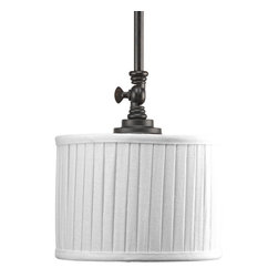 Progress Lighting - Progress Lighting P5256-84 One-Light Mini-Pendant White Pleated Linen Shade - One-light Mini-Pendant highlighted by modern drum shades in white linen fabric with soft side pleats. Finished in Espresso, this traditionally rooted design is where classic vintage styling meets minimalistic lines.