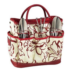 Picnic at Ascot Promenade Gardening Tote Set - Bring a casual style to your passion for gardening using the Picnic at Ascot Promenade Gardening Tote Set. The gardening tote set is designed as well as assembled in the U.S., and is a must have for gardening enthusiasts. This roomy tote comes with three heavy gauge stainless tools that have comfortable grip handles. It comes with side pockets for holding snacks and drinks. Made of cotton/faux leather, the tote is durable and meant for rough use.About Picnic at AscotDay or evening, beachside or backyard, picnics are a favorite event. By introducing Americans to the British tradition of upmarket picnics over a decade ago, Picnic at Ascot created a niche for picnic products combining British sophistication with an American fervor for excitement and exploration. Known as an industry leader in the outdoor gift market, Picnic at Ascot houses a design staff dedicated to preserving the prized designs and premium craftsmanship signature to the company. Their exclusive products are carried only by selective merchants. Picnic at Ascot provides quality products that meet the demands of today, yet reflect classic picnic style.