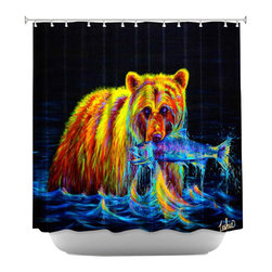 DiaNoche Designs - Shower Curtain Artistic - Night of the Grizzly - DiaNoche Designs works with artists from around the world to bring unique, artistic products to decorate all aspects of your home.  Our designer Shower Curtains will be the talk of every guest to visit your bathroom!  Our Shower Curtains have Sewn reinforced holes for curtain rings, Shower Curtain Rings Not Included.  Dye Sublimation printing adheres the ink to the material for long life and durability. Machine Wash upon arrival for maximum softness on cold and dry low.  Printed in USA.