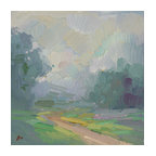 'Foggy Path' Framed Oil Painting - Mood changer. This contemporary landscape painting by Elio Camacho will soothe your senses with it's calming color palette of soft blues, greens and grays. The oil painting is set in a gilded wood frame for a traditional touch.