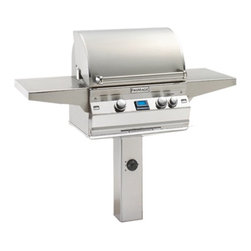 Fire Magic - Fire Magic Aurora A430s In-Ground Post Mount Grill Multicolor - A430S-1E1N-G6 - Shop for Grills from Hayneedle.com! The Fire Magic Aurora A430s In-Ground Post Mount Grill has all the features you need. This gas grill is designed to be mounted in the ground and has a slim pedestal base that doesn't take up much space. While the base isn't huge the 432-square inch cooking surface sure is. This grill offers 50000 BTUs for some serious grilling power and has two infrared burners with individual control knobs. It even comes complete with a digital thermometer with meat probe and two side shelves -- handy! Create cooking versatility by adding the optional rotisserie backburner and light (sold separately). About Fire MagicFire Magic understands more about the amazing things that happen when flame and good food meet. For the last 70 years they've set out to create the singularly best way to cook food outdoors using the highest-quality materials innovative design and an absolutely relentless pursuit of perfection. With a complete line of luxury-grade grills burners accessories and built-in grill island components Fire Magic is ready to turn your home into the world's best outdoor kitchen.