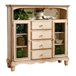 Hillsdale Furniture - Antique White Bakers Cabinet Rack w Four Draw - This antique white baker's cabinet is a beautiful addition to your country or shabby chic style home. The antiqued, faded and vintage white finish is soft and very well done. The ample storage this piece offers allows it to hold both your linens and your china or collectibles, while still displaying those treasured and beloved pieces. This elegantly appointed and finely crafted Antique White Baker's Cabinet with Curio provides abundant storage and display space in 4 capacious drawers, behind 2 glass-paned doors and in a wide open alcove. Brighten your dining room or living room with this beautiful antique white cabinet. * This antique white baker's cabinet is a beautiful addition to your country or shabby chic style home.. The antiqued, faded and vintage white finish is soft and very well done.. The ample storage this piece offers allows it to hold both your linens and your china or collectibles, while still displaying those treasured and beloved pieces.. 4 drawers & additional storage. Antique white finish. 60.87H x 60.63W x 17.99D