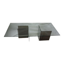 Pre-owned Glass & Lucite Coffee Table - This ultra-mod rectangular coffee table with glass top rests on a grey and clear lucite base. Very glam! Would be great in a vintage modern living room. Please note there is a small chip in the glass on one side.