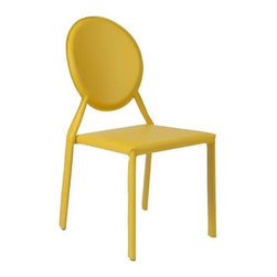 Eurostyle - Eurostyle Isabella Leather Stacking Side Chair in Yellow [Set of 2] - Leather Stacking Side Chair in Yellow belongs to Isabella Collection by Eurostyle Leather. Leather. And more leather. There's nothing like the look and feel of the real thing and the Isabella seat, back, and legs are all dressed up in leather. You just can't touch this design anywhere. Oh, go ahead��_��__ feels great. Side Chair (2)