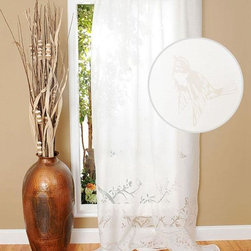 Home Decorators Collection - Aviary Burnout Curtain Panel - The Aviary Burnout Curtain Panels feature a unique burnout design that will highlight any decor. The sheer look of these window treatments will soften the look of any room. Panels are sold individually. Tie-top panels. Spot clean only. Available in sheer white.