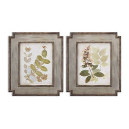 Uttermost - Natures Collage Floral Art Set of 2 - These oil reproductions feature a hand applied brushstroke finish.
