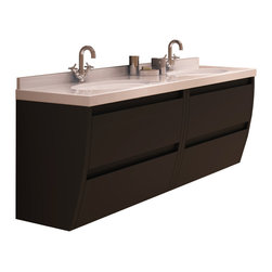 "Macral - Flow 64 inch Bath Vanity in Toffee Matt Lacquer - Flow 64"" wall mounted bathroom vanity."