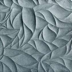Ziva Lake Blue Limestone Leaves Honed and Polished Dimensional Field Tile - Deep blue-green reminiscent of the still water of a deep mountain lake, hand-carved in a lush, organic botanical pattern. Invite nature into your space.