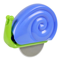 Fred and Friends - Snail Pizza Cutter - This friendly snail cuts pizza efficiently with a stainless steel disk while reminding us to take it easy, slow down and savor the flavor.