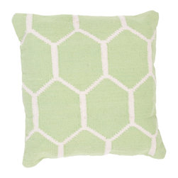"""Jaipur Rugs - Handmade Cotton Green/Ivory/White Pillow, Green/Ivory/White, 18""""x18"""", Harvir - Santorini are flatweave dhurri styled pillows in pastels and bright colors to liven any decor."""