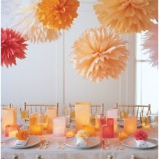 Pom-Poms and Luminarias - Martha Stewart Napkin rings and ties