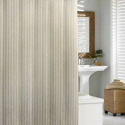Kassatex - Kassatex Cortina Linen Shower Curtain Flax - CLN-115-FLA - Shop for Shower Curtains from Hayneedle.com! Natural linen adds organic elegance to your bath. The Kassatex Cortina Linen Chevron Shower Curtain Flax is made up of 50% linen and 50% cotton to be durable and luxurious. A striped design adds style and it's machine-washable for convenience.