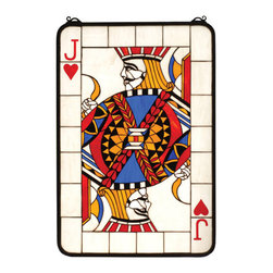 "Meyda Tiffany - 27""W X 40""H Jacks Are Wild Stained Glass Window - The Jack of Hearts is always your best bet with this Meyda original poker card window. Etched and inlay painted letter and heart and an intricately detailed Jack in High Hand Black, Bankroll Blue and Poker Chip Red glass are at the center of this Bidding Beige window. The window is handcrafted utilizing the copper foil construction process and 411 pieces of stained art glass encased in a solid brass frame. Mounting bracket and chain included."