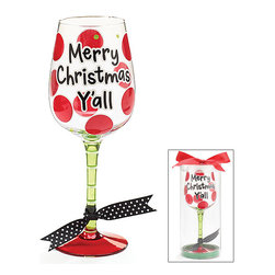 Burton & Burton - Merry Christmas Y'all Wine Glass - Decorative Cup - Cute And Fun For the Holiday - What better way to wind down your Christmas evening than with a delicious glass of wine sipped from one of our fashionable wine glasses? Or perhaps you're looking for the perfect glass for a holiday party. Well, look no further!