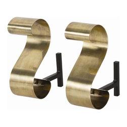 Arteriors - Arteriors 4216 Gil Andirons, Set of 2 - Arteriors 4216 Gil Andirons, Set of 2 made with Antique Brass/Black Iron.