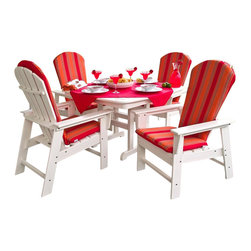 Polywood - 5-Piece Eco-Friendly Dinette Set - Want to turn your outdoor living space into the hottest spot in the neighborhood? Its easy with the South Beach Collection. Just like the popular Miami Beach scene, you'll enjoy an eclectic blend of bold art deco along with the relaxed comfort and style that you've come to expect from traditional Adirondack furniture. You can mix or match to create just the right look for your very own exotic getaway. This collection not only looks amazing, but its also built to last for years to come. Ideal for dining and casual seating. Provides the look of painted wood without the maintenance. on land or on sea, this striking collection has the strength, durability and beauty to outshine, outperform and outlast any storm. Its unique design and signature headboard gives the entire collection a certain style and class that will stand out on any deck. You'll find the perfect match for your decor. This collection will remain in shipshape for many years to come. It'll transform your outdoor living space into the perfect face-to-face chat room