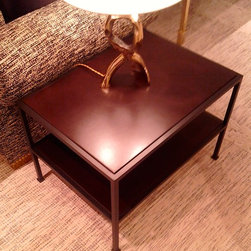 Metal & leather side table -