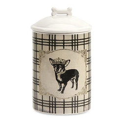iMax - Dog Ceramic Canister Small - Store all the Essentials for your canine friend in this beautiful small ceramic container with royal graphics.