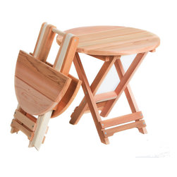 All Things Cedar - Cedar Folding Adirondack Table - Folds to  8 inches deep , light and portable with built in carrying handle. Item is made to order.