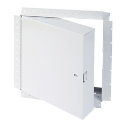 """Best Access Doors - Fire Rated Insulated Access Door with Drywall Flange, High Quality White Powder - 16"""" x 16"""" - Fire Rated Insulated Access Door with Drywall Flange.  The BA-PFI-GYP is specially designed to be installed on fire rated drywall covered ceilings and walls. Once a sufficient layer of drywall compound is applied to its corner bead flange, it will leave only the door panel visible for a more aesthetic look. Once the installation is complete and the provided springs are hooked to the back of the panel, this door will be self closing and self locking thus meeting fire certification standards. The largest fire rated PFI-GYP doors available for vertical and horizontal installations are respectively: (48""""   x 48""""  ) and (24""""   x 36""""   or 864 sq inches).BA-PFI-GYP fire rated access Panel specifications,   Material: 16 gauge cold rolled steel frame and 20 gauge galvanneal steel door  Insulation: 2"""" mineral wool  Hinge: Continuous piano hinge  Lock / latch: Self latching tool-key operated slam latch and/or ring operated slam latch, both included  Inside panel release: Included on all slam latch fire doors  Automatic panel closer: Standard on all doors  Finish: DuPont high quality white powder coat.  Fire Rating:     For installation in  vertical wall assemblies:   Rating 1 1/2 hours  . Temperature rise: 250 deg F (139 deg C) at 30 mins and 450 deg F (250 deg C) at 60 mins. Maximum door size of 48"""" x 48"""".  Rating 3 hours. Temperature rise: 400 deg F at 60 mins. Maximum door size of 48"""" x 48"""".   For installation in  horizontal ceiling assemblies: With temperature rise: Rating 3 hours for non-cumbustible assembly and 1 hour for combustible assembly: Temperature rise: Max 250 deg F (139 deg C) at 30 mins, 450 deg F (250 deg C) at 60 mins. Maximum door size of 24"""" x 36"""" or 864 sq inches (see note 1)  Without temperature rise: Rating: 3 hours for non-combustible assembly and 1 hour for combustible assembly.   Standards listed:   NFPA 252-2003, UL 10(b), UL 555, CAN/UL"""