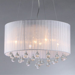 Warehouse of Tiffany - Spherical Crystal Chandelier - Add some elegance to your home with this silver-finished Spherical crystal chandelier. This dynamic lighting element features generous rows of cascading crystals to catch the light.